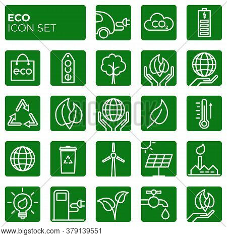 Ecology Icons Set. Environment Protection. Alternative Renewable Energy. Global Warming. Decarbonati