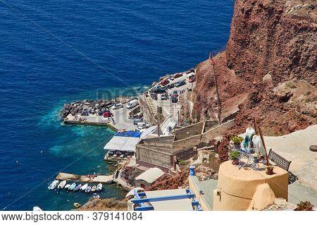 Santorini, Greece, August 21, 2013: Beautiful View Of The Amoudi Bay In Santorini