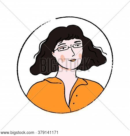 Young Woman In Glasses With Wavy Blunt Bob Hairstyle And Fringe. Doodle Portrait Of Confident Girl I