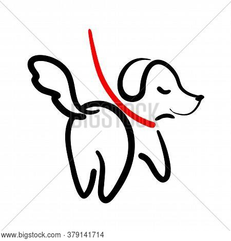 Outline Dog On Leash Illustration. Backside Puppy Walking Line Art. Walk With Pets Logo. Doggy Compa