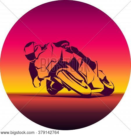 Racer Ride Sportbike Eps 10 Vector Isolated Icon