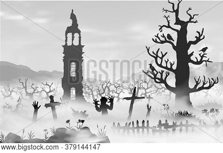 Halloween Scareful Landscape With Trees, Spooky Branches, Old Church, Graveyard Objects, Fence, Zomb