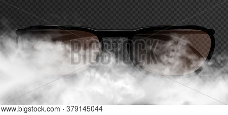 Classic Realistic Man Or Woman Glasses Striking Appearance In The Thick Smoke Clouds. Vector 3d Illu