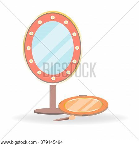 Set Of Cosmetics In Cartoon Style. Mirror With Flashlights And Tenes Palette With Sponge. Decorative