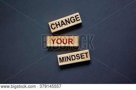 Wooden Blocks Form The Text 'change Your Mindset' On Beautiful Black Background. Business Concept.