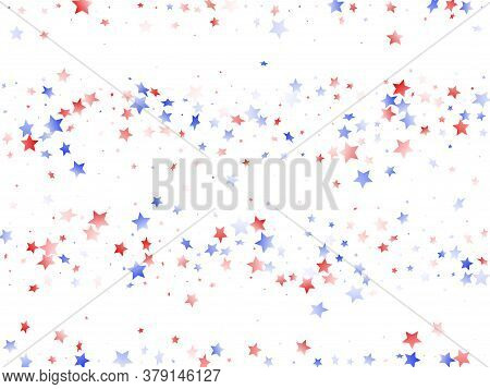 American Memorial Day Stars Background. Holiday Confetti In Us Flag Colors For President Day.  Styli