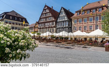 Beautiful Half-timbered Houses And Street Cafes In Schwaebisch Gmuend