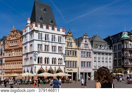 View Of The Hauptmarkt Square In The Historic Old Town Of Trier On The Mosel