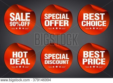 Red Sale Stickers Set 90% Off, Hot Deal, Best Choice, Best Price, Special Offer, Special Discount Wi