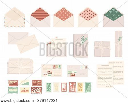 Big Set Of Postal Stamps With Postage Envelope And Paper Packages Flat Vector Illustration Isolated