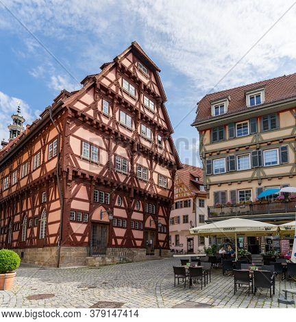 View Of The Historic Old City Center And Street Cafes In Esslingen On The Neckar