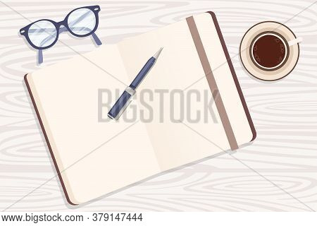 Flat Workplace Organization Top View With Wooden Texture Table Notepad Cup Eyeglasses And Pen Work D