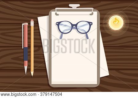 Flat Workplace Organization Top View With Wooden Texture Table Notepad Eyeglasses And Pen Work Desk