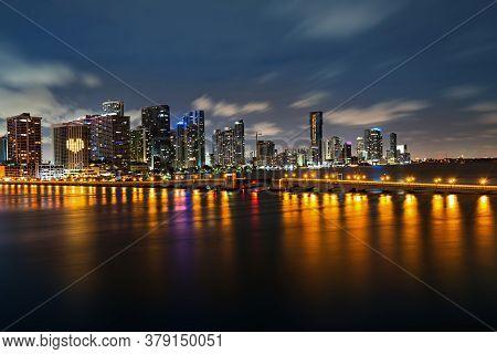 Bayside Miami Downtown Macarthur Causeway From Venetian Causeway. Miami Skyline