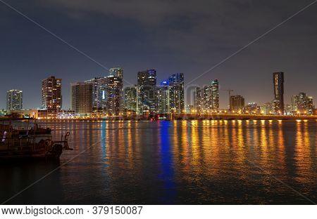 Miami Night Downtown, City Florida. Panoramic View Of Miami Skyline And Coastline