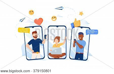 Vector Illustration, Communication Phone, People And Social Networks. People Communicate Via Social