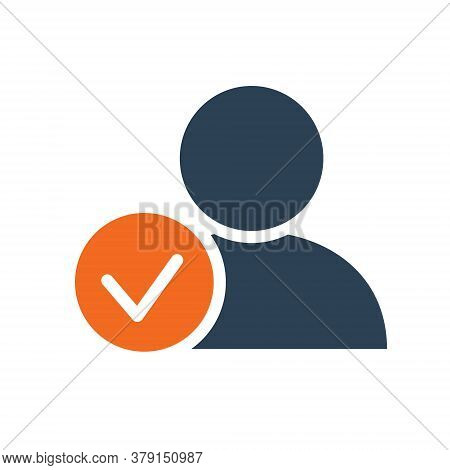User Profile With Tick Checkmark Line Icon. System Verification, Authentication Symbol