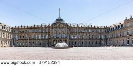 Stuttgart, Bw / Germany - 21 July 2020: View Of The Neues Schloss Castle And Courtyard In The Heart