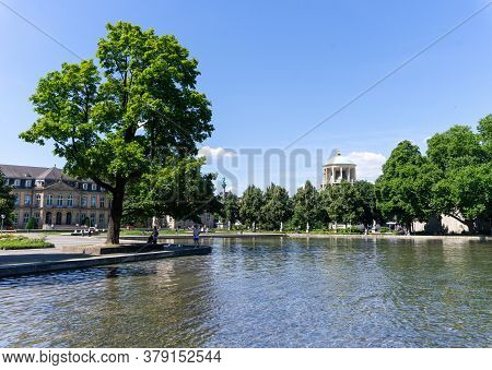 Stuttgart, Bw / Germany - 21 July 2020: View Of The Eckensee Lake And Park In The Heart Of Stuttgart