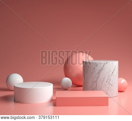 Modern Minimal Primitive Shape Geometric Pink Podium Set 3d Render