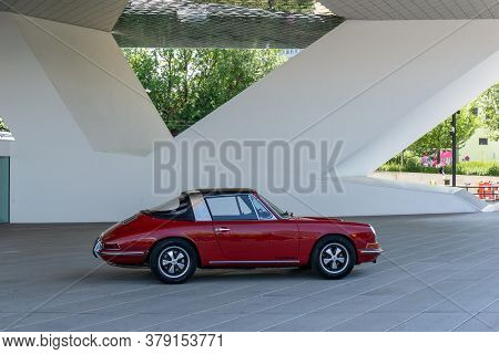 Stuttgart-zuffenhausen, Bw / Germany - 22 July 2020:view Of The Porsche Museum In Stuttgart With A R