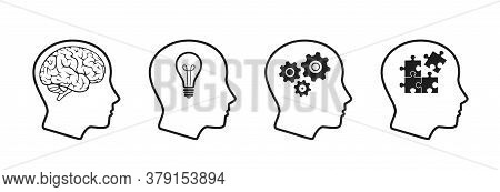 Mind Process Icon Set. Creative Think, Intelligence, Brainstorming, Mental Work, Brain Thinking, Emo