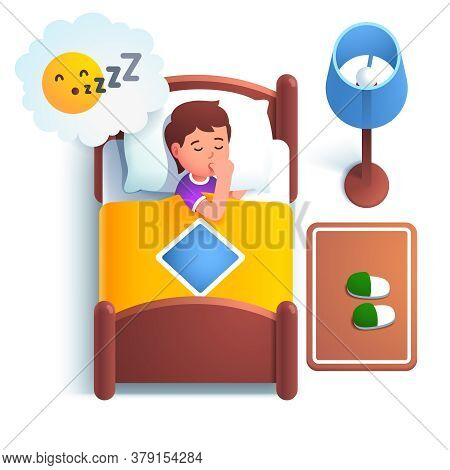Cute Boy Kid Sleeping In Bed Under Blanket