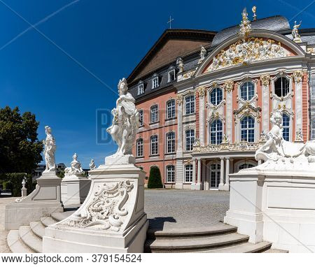 Trier, Rp / Germany - 29 July 2020: The Palace At The Konstantin Basilica In The Historic Old Town O