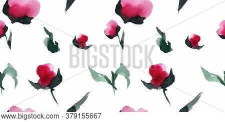 Chinese Peony Blooms Seamless Pattern, Abstract Watercolor Art, Clipping Path Included