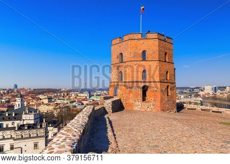 Tower Of Gediminas In Vilnius, Lithuania. Historic Symbol Of The City Of Vilnius And Of Lithuania. F
