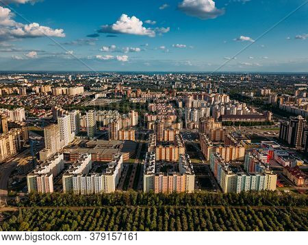 Modern Residential Area In Voronezh, Aerial View From Drone In Summer Day
