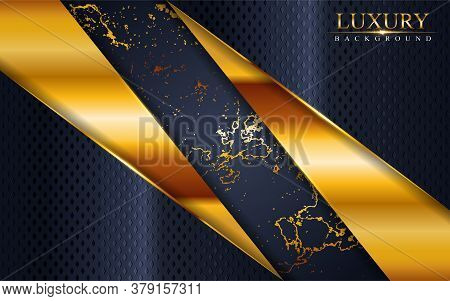 Abstract Luxury Navy Background Design With Golden Lines. Vector Graphic Illustration.