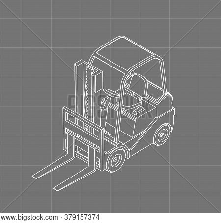Isometric Forklift Sketch. 3d Vector Wireframe Style. Outline Blueprint Of Forklift. Vehicle Drawing