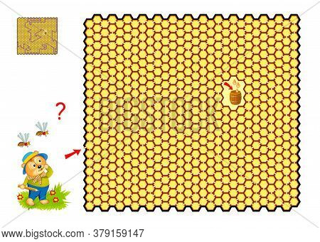 Big Labyrinth With Honeycombs. Logic Puzzle Game For Children And Adults. Help The Bear Find The Way