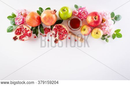 Rosh Hashanah (jewish New Year Holiday), Concept Of Traditional Or Religion Symbols On White Backgro