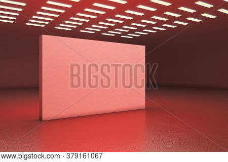 Red Gallery Interior With Empty Exhibition Stand. Gallery, Advertisement, Presentation Concept. Mock