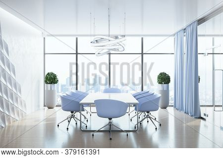 Modern Office Interior With Panoramic City View, Daylight, Furniture And Blue Chair. 3d Rendering