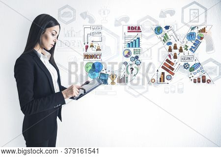 Ux Designer Using Digital Tablet And Drawing User Experience Plan On White Background. Design And Ux