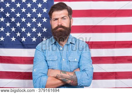 American Man Journalist Reporter Usa Flag Background, Breaking News And Information Concept.