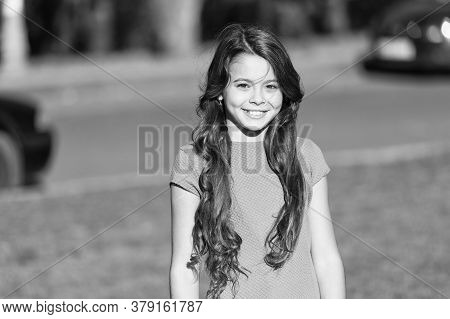 Gorgeous Me. Happy Girl Sunny Outdoors. Child Girl With Cute Smile. Small Girl With Long Curly Hair.