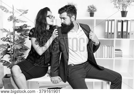 Love Inspire. Sexy Woman Hug Businessman. Love Affair At Workplace. Couple In Love. Boss And Secreta