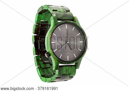 Wristwatches From Green Wood And Black Aluminum Dial, Accessory Made From Eco Materials Isolated On