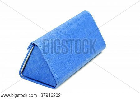 Mockup Eyewear Shopping Blue Gift Box From Eco Cardboard Triangular Shape On A White Background Side