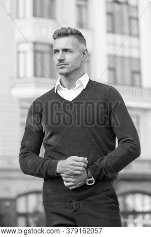 Confident Manager. Menswear And Fashionable Clothing. Man Looks Handsome In Casual Style. Handsome M
