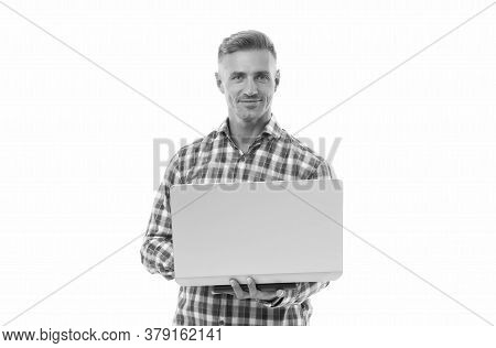 Remote Job. Freelance. Mobility For Better Life. Handsome Man Hold Laptop Isolated On White. Laptop