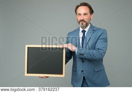 Man Classy Suit Director Business Company Show Information Blackboard Copy Space, Hiring Staff Conce