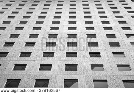Concrete Construction With Glass Windows. House Building Construction. Architecture And Construction