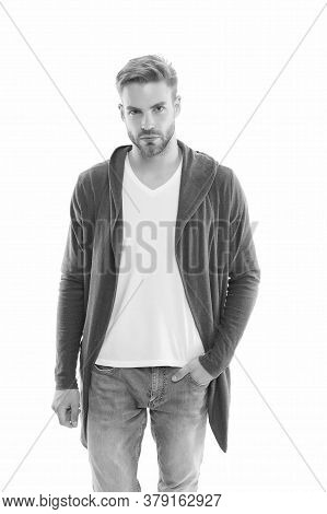 Looking Right. Man Isolated On White. Handsome Man In Casual Style. Fashion And Style. Fashion Look