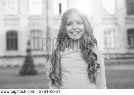 Shine Like Star. Happy Girl Outdoors. Child Girl With Cute Smile. Small Girl With Long Curly Hair. L