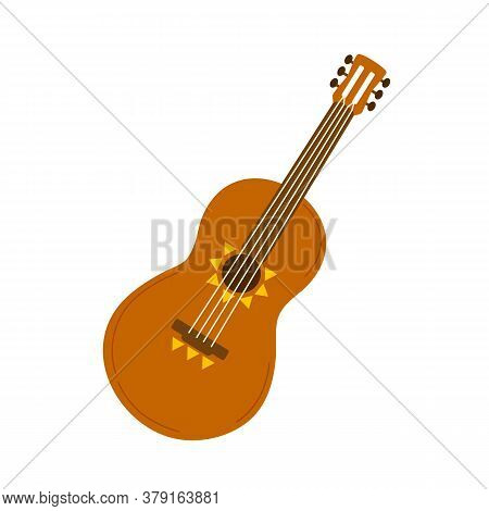Classic Acoustic Guitar, Four-string Musical Traditional Latin Cinco Instrument. Ornamented Ukulele,